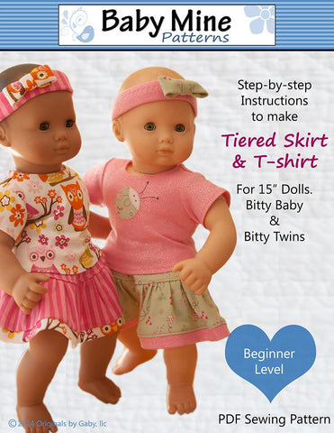 "Baby Mine Bitty Baby/Twin Tiered Skirt & Tee Shirt 15"" Baby Doll Clothes Pattern Pixie Faire"