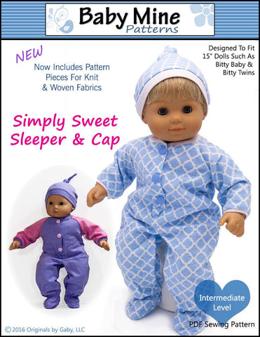 "Baby Mine Bitty Baby/Twin Simply Sweet Sleeper and Cap 15"" Baby Doll Clothes Pattern Pixie Faire"