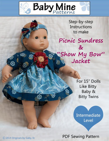 "Baby Mine Bitty Baby/Twin Picnic Sundress and Show My Bow Jacket 15"" Baby Doll Clothes Pattern Pixie Faire"