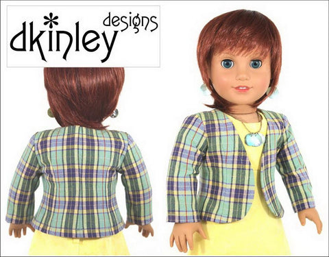 "Dkinley Designs 18 Inch Modern Perfectly Plaid Jacket 18"" Doll Clothes Pattern Pixie Faire"