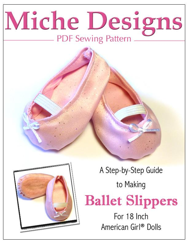 Ballet Slippers 18 inch Doll Shoes Pattern PDF Download | Pixie Faire