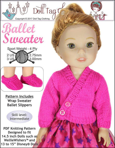 14.5 inch doll clothes PDF knitting pattern fits WellieWishers Disney dolls