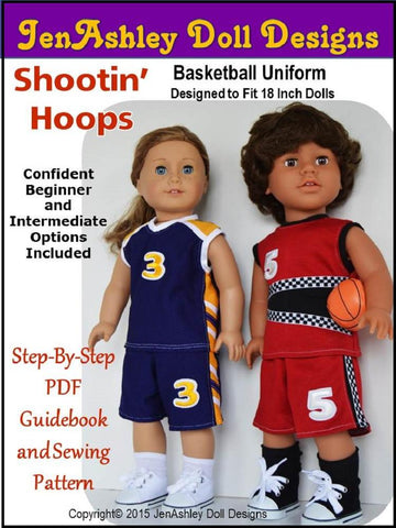 "Jen Ashley Doll Designs 18 Inch Modern Shootin' Hoops Basketball Uniform 18"" Doll Clothes Pattern Pixie Faire"