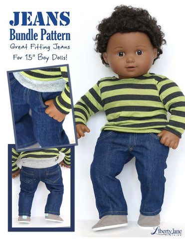"Jeans Bundle 15"" Doll Clothes Pattern"