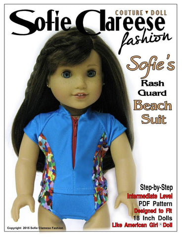 "Sofie's Rash Guard Beach Suit 18"" Doll Clothes Pattern"