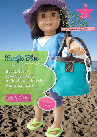 "Beach Tote Sewing Pattern 18"" Dolls"