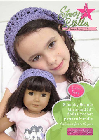 Stacy and Stella Crochet Slouchy Beanie Girl and Doll Matching Pixie Faire