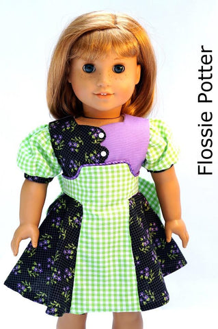 "Flossie Potter 18 Inch Historical Becka's Dress 18"" Doll Clothes Pattern Pixie Faire"