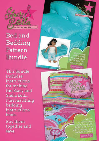 "Stacy and Stella 18 Inch Modern Bed and Bedding Bundle 18"" Dolls Pixie Faire"