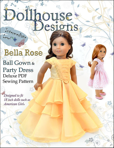 "Dollhouse Designs 18 Inch Modern Bella Rose Ball Gown & Party Dress 18"" Doll Clothes Pattern Pixie Faire"
