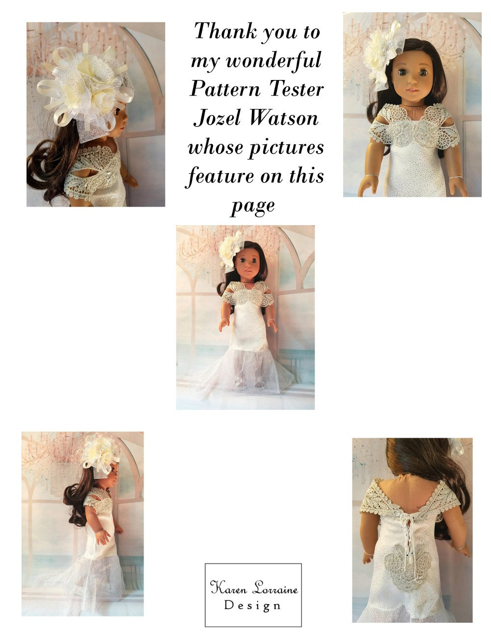 Karen Lorraine Design Belle Doll Clothes Pattern for 18\