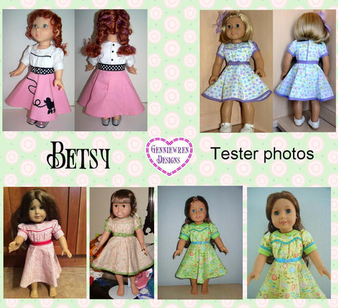 "Genniewren 18 Inch Historical 1930's Betsy Dress 18"" Doll Clothes Pattern Pixie Faire"
