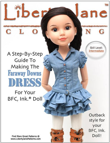 Faraway Downs Dress Pattern for BFC, Ink. Dolls