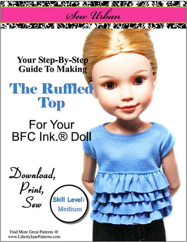 Sew Urban BFC Ink Ruffled Top Pattern for BFC, Ink. Dolls Pixie Faire