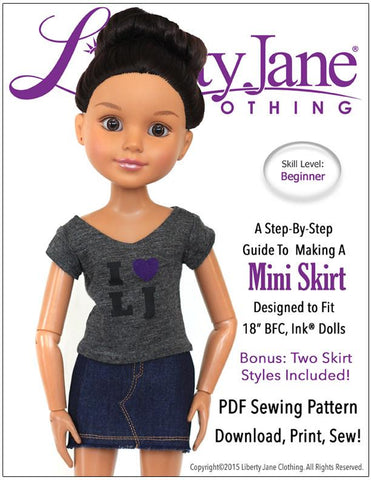 Liberty Jane BFC Ink Mini Skirt Pattern for BFC, Ink Dolls Pixie Faire