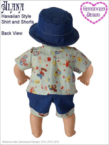 "Genniewren Bitty Baby/Twin Alana - Hawaiian-Style Shirt, Shorts and Hat 15"" Baby Doll Clothes Pixie Faire"