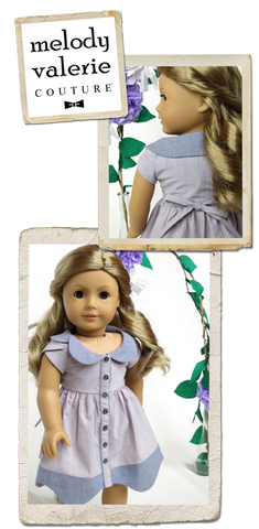 Melody Valerie Couture Bluebelle Dress 18 inch Doll Clothes Pattern