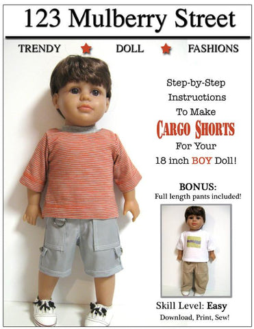 "123 Mulberry Street 18 Inch Boy Doll Boy Doll Cargo Shorts 18"" Doll Clothes Pattern Pixie Faire"