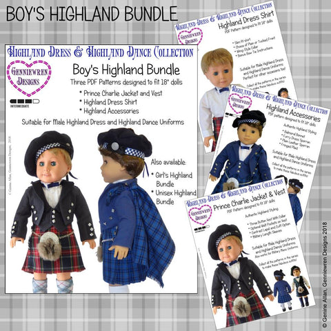pdf doll clothes sewing pattern Genniewren boys highland bundle designed to fit 18 inch American Girl dolls