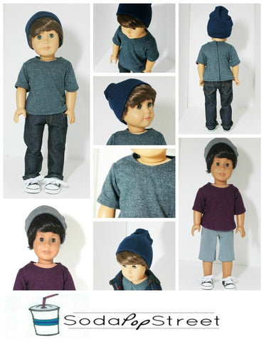 "Boys Tee and Beanie 18"" Doll Clothes Pattern"