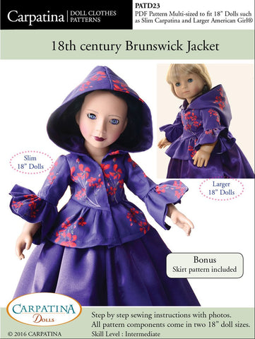 "Carpatina Dolls 18 Inch Historical 18th Century Brunswick Jacket Multi-sized Pattern for Regular and Slim 18"" Dolls Pixie Faire"