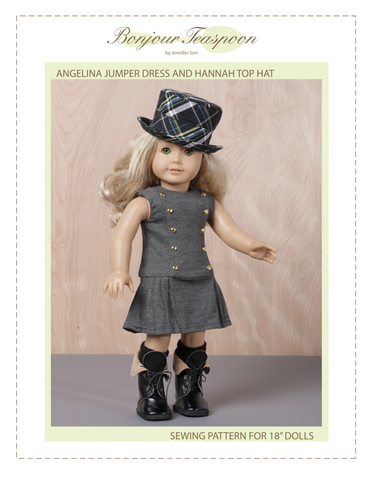 "Jumper Dress and Top Hat Bundle 18"" Doll Clothes Pattern"