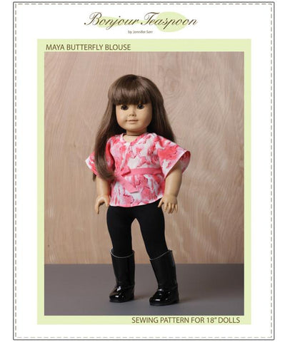 "Bonjour Teaspoon 18 Inch Modern Maya Butterfly Blouse 18"" Doll Clothes Pattern Pixie Faire"