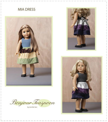 "Mia Dress 18"" Doll Clothes Pattern"