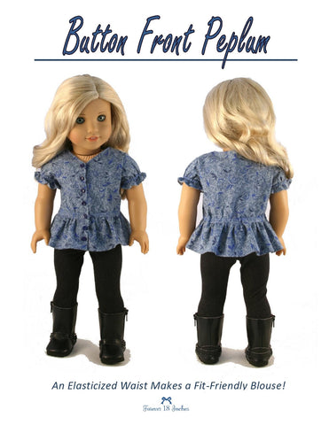 "Button Front Peplum 18"" Doll Clothes"