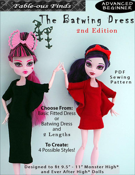 Fable Ous Finds Batwing Dress Doll Clothes Pattern 9 11