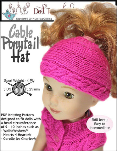 Cable Ponytail Hat Knitting Pattern for 13 to 14.5 Inch Dolls