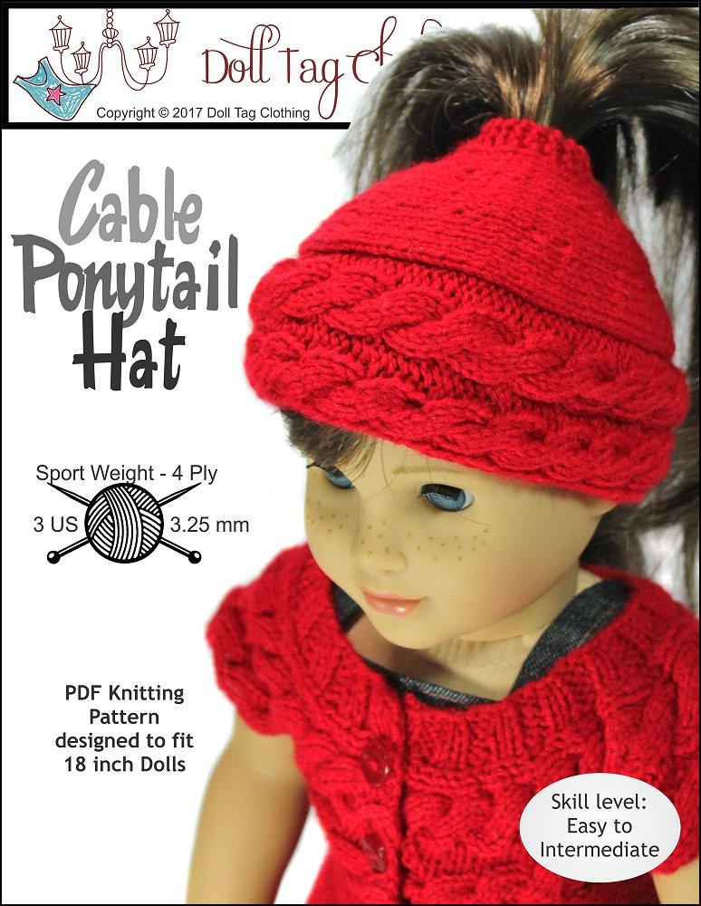 Doll Tag Clothing Cable Ponytail Hat Doll Clothes Knitting Pattern ...