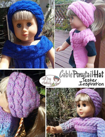 "Doll Tag Clothing Knitting Cable Ponytail Hat 18"" Doll Knitting Pattern Pixie Faire"