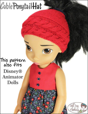 "Cable Ponytail Hat 18"" Doll Knitting Pattern"