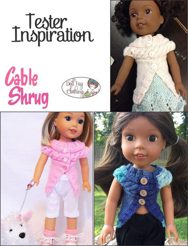 Cable Shrug Knitting Pattern for 14 to 14.5 Inch Dolls