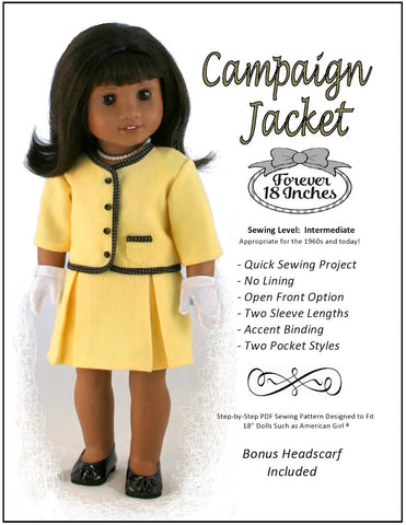 "Forever 18 Inches 18 Inch Historical Campaign Jacket 18"" Doll Clothes Pixie Faire"