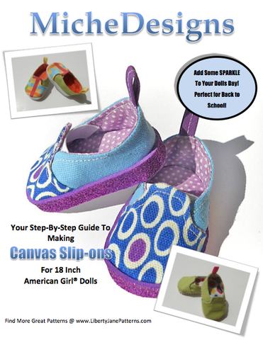 "Canvas Slip On 18"" Doll Shoes"