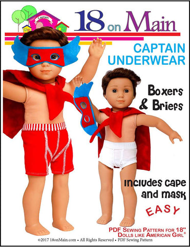 "18 On Main 18 Inch Boy Doll Captain Underwear 18"" Doll Clothes Pattern Pixie Faire"