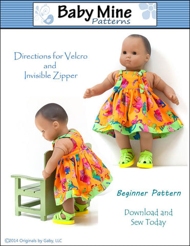 "Carly's Dress 15"" Baby Doll Clothes Pattern"