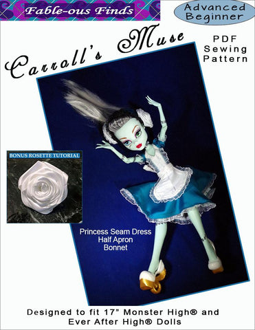 "Carroll's Muse Dress, Apron, and Bonnet Pattern for 17"" Monster High Dolls"