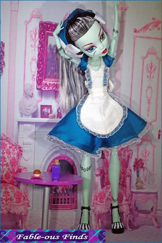 "Fable-ous Finds Monster High Carroll's Muse Dress, Apron, and Bonnet Pattern for 17"" Monster High Dolls Pixie Faire"