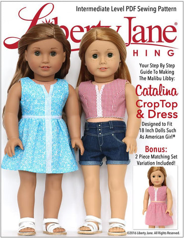"Liberty Jane 18 Inch Modern Catalina Crop Top and Dress 18"" Doll Clothes Pattern Pixie Faire"