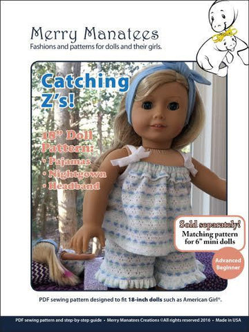 "Merry Manatees 18 Inch Modern Catching Z's 18"" Doll Clothes Pattern Pixie Faire"