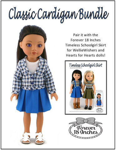 "Classic Cardigan Bundle 14-14.5"" Doll Clothes Pattern"