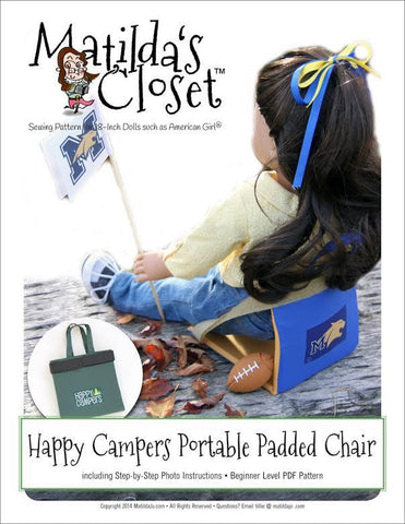 "Matilda's Closet 18 Inch Modern Happy Campers Portable Padded Chair 18"" Doll Accessory Pattern Pixie Faire"