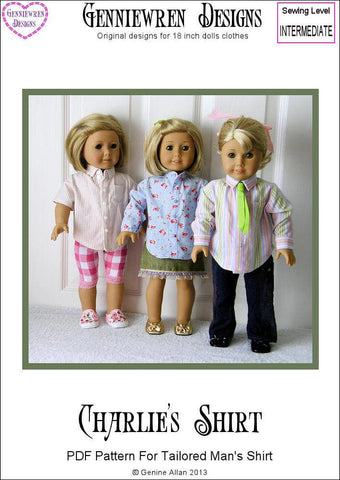 "Charlie's Shirt 18"" Doll Clothes Pattern"