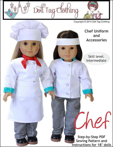 "Doll Tag Clothing 18 Inch Modern Chef's Uniform 18"" Doll Clothes Pixie Faire"