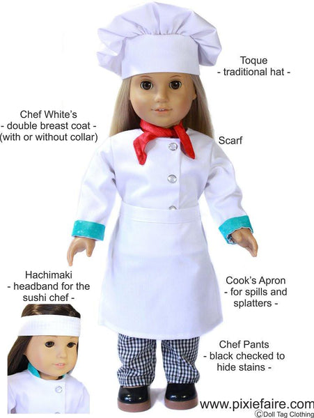 Chef S Uniform 18 Inch Doll Clothes Pdf Pattern Download