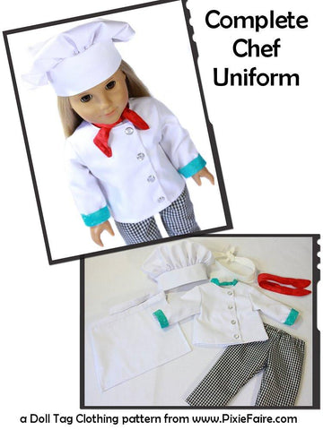 "Chef's Uniform 18"" Doll Clothes"