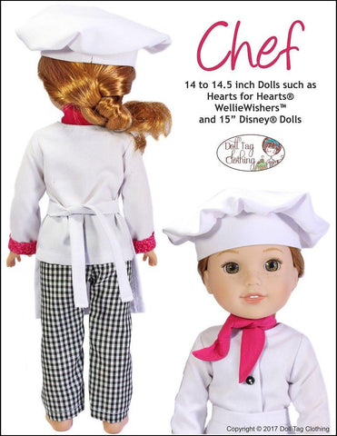 Chef Uniform Pattern for 14 to 14.5 Inch Dolls